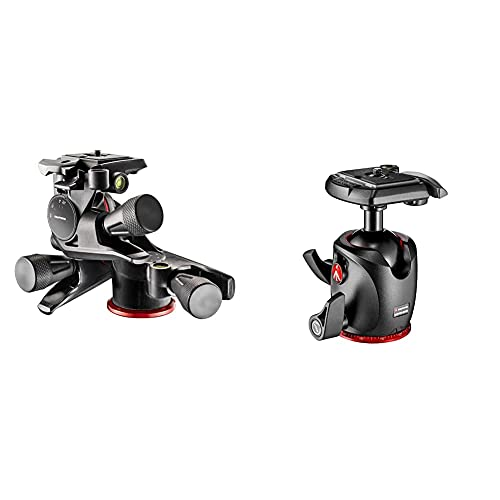 Manfrotto MHXPRO-3WG, XPRO Geared 3 Way Pan/Tilt Head, compatible with DSLR, Compact System Camera, Mirrorless, Aluminium Black & MHXPRO-BHQ2, XPRO Ball Head, Magnesium Body with 200 PL Plate