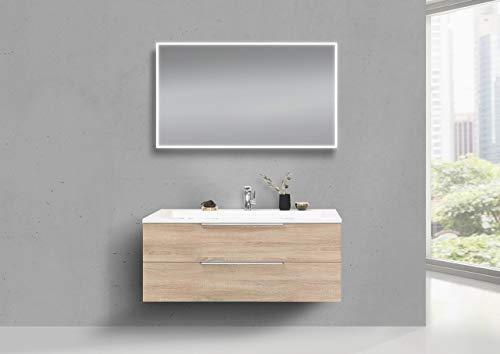 Intarbad ~ Badmöbel Set CUBO 1200 mm Waschtisch Evermite, Unterschrank und LED Spiegel Grau Matt Lack IB1475
