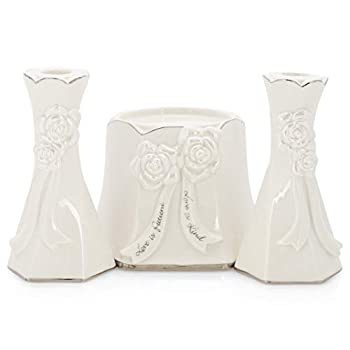 Roman 13227 Wedding Unity Candle Holder Set 6-inch Height White