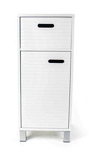 Schubladenschrank, 1 Schublade, 1 Fach mit Tür, Design skandinavisch, Grifflöcher, Höhe ca. 79 cm, weiß