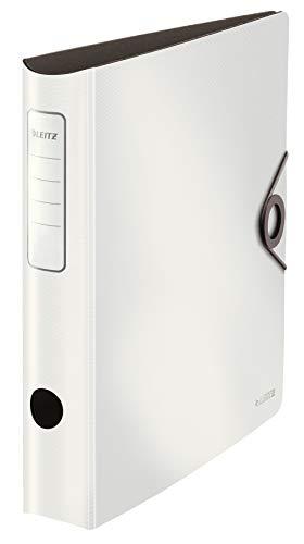 Leitz Qualitäts-Ordner 180° Active Solid, A4, Schmal, Weiß, abgerundeter Rücken ca. 6,5 cm breit, elastischer Verschluss, aus robustem Polyfoam, 10481001