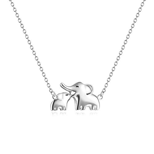YFN Mom Baby Elephant Necklace Sterling Silver Good Luck Elephant Necklace for Mon Women (Mom Baby Elephant Necklace)