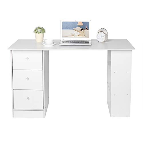 Cikonielf Computertisch mit 3 Schubladen und 3 Ablageflächen, Computertisch, Arbeitszimmer, Schreibtisch, 120 x 49 x 73 cm, Weiß