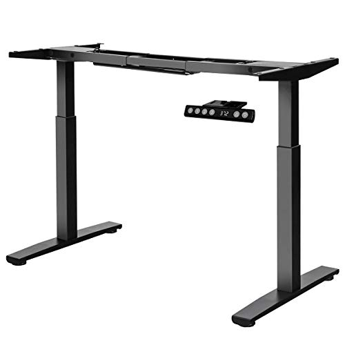 Tangkula Dual Motor Electric Standing Desk Frame, Height & Width Adjustable Motorized Sit Stand Desk Base, Ergonomic Standing Up Workstation w/Memory Controller