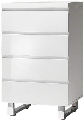 Robas Lund, Schrank, Kommode, Sydney, Hochglanz/weiß/verchromt, 56 x 93 x 42 cm, 48905W1