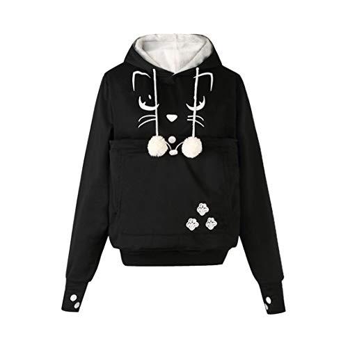 Zhhlinyuan Femmes Manche Longue Hoodies Porte Animal - Chat Chien Pochettes Pull Grande Poche Chemisier Hommes Sweatshirt Pullover Tops de Sport