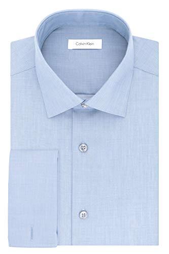Calvin Klein - Camisa de Vestir para Hombre (Ajustada, no Necesita Planchado, Espiga Francesa), Azul, 16' Neck 32'-33' Sleeve (Large)