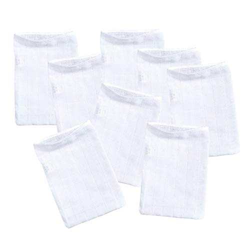 Bornino Baby Mullwaschlappen 8er-Pack/Molton Waschlappen / 15x20 cm / 100% Baumwolle/weiß