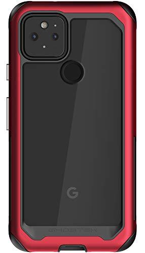 Ghostek Atomic Slim diseñado para Pixel 5 funda con parachoques de aluminio ultra protector, hecho de aleación de grado militar súper fuerte, ligero y de metal para Pixel 5 5G (6 pulgadas) (rojo)