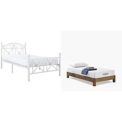Modway Cottage Twin Bed in White with Modway Aveline 8' Gel Infused Memory Foam Twin Mattress With...