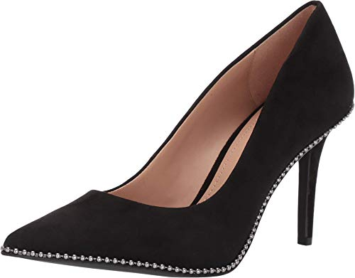 COACH 85 mm Waverly Pump with Beadchain Black Suede 9 M