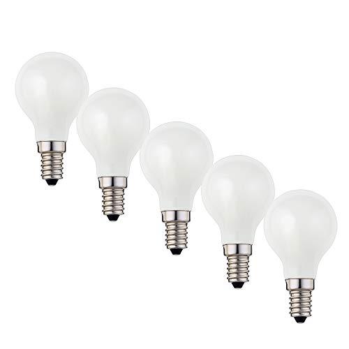 Hellum Bombilla LED de filamento E14, 2700 K, 2 W, mate, 5 unidades, 208207