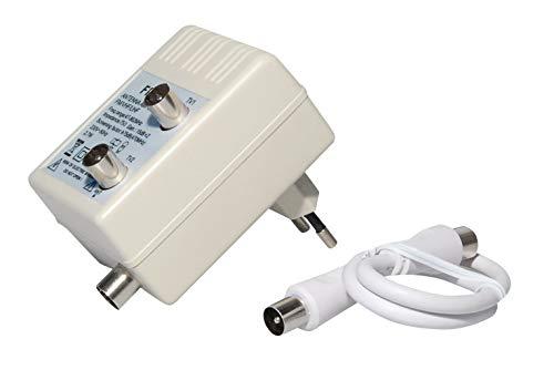 Antennen-Verstärker 75Ohm, 2 Koax Stecker männlich auf 1 Koax Buchse Kupplung weiblich mit 0,3 Meter Antennen-Kabel, geeignet für 3D SD HD FullHD UHD 4K, Weiss