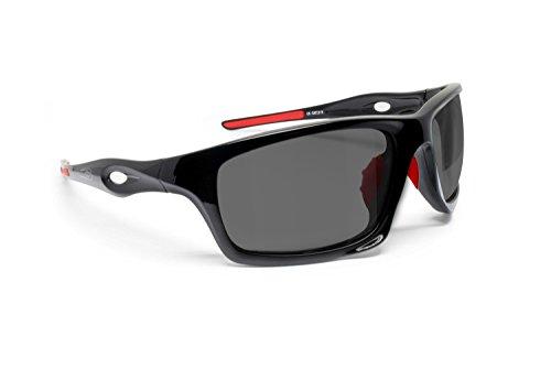 BERTONI Gafas Deportivas Fotocromaticas de Ciclismo Moto Running Esquí Pesca Envolventes a Prueba de Viento mod. Omega Italy (Negro Brillante/Rojo - Fotocromáticas Polarizadas)