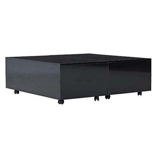 Wakects - Tavolino da caffè, rotondo, estensibile, vano interno + ruote per bloccare nero lucido, 100 x 100 x 35 cm