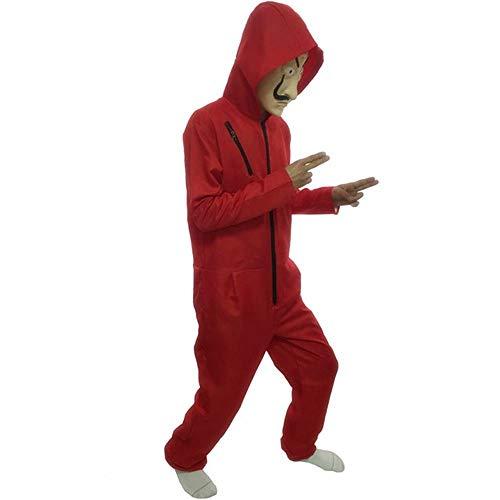 WanTo Dali Film Cosplay Kostüm Maske Dali De Papel Gesicht Phantasie Rot Jumpsuit Kleidung Maske Halloween Party Männer Jungen, nur Kostüm, 5XL