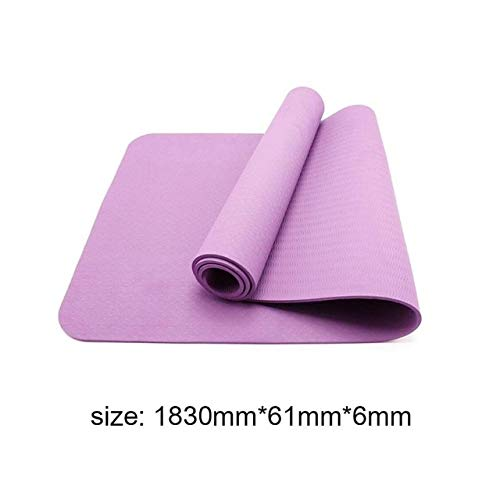 Yzdhaxa yogamatten, antislip, 6 mm, TPE, voor fitness, smaakloos, gezond training, sport, matten met yoga-tas D