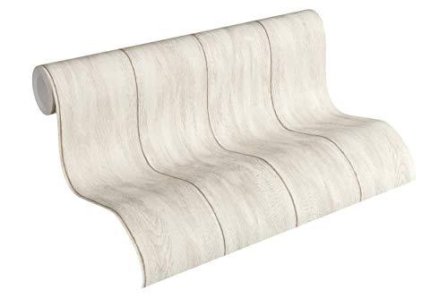 Livingwalls vliesbehang nieuw Bude 2.0 behang in vintage houtlook 10,05 m x 0,53 m Natuur beige, crème.