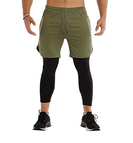 Ducomi Pantalón corto para hombre Fitness + Leggings de compresión 2 en...