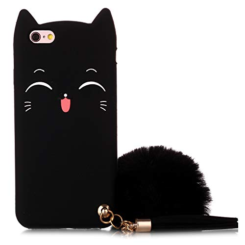 iPhone 6 Case, iPhone 6S Silicone Case, Fashion Cute 3D Black Meow Party Cat Kitty Kids Girls Lady Protective Cases with Pompom/Strap Soft Case Skin for Apple iPhone 6 and iPhone 6S