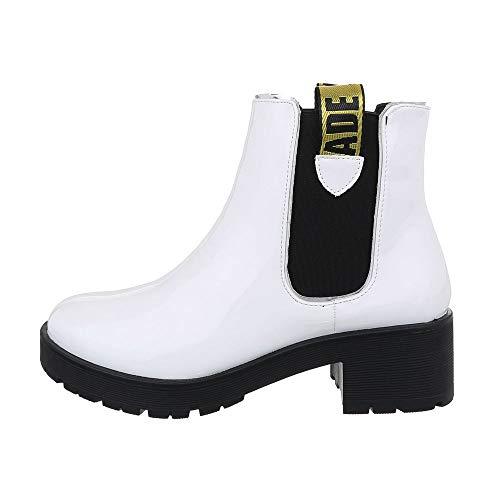 Ital Design Damenschuhe Stiefeletten Chelsea Boots Synthetik Weiß Schwarz Gr. 40