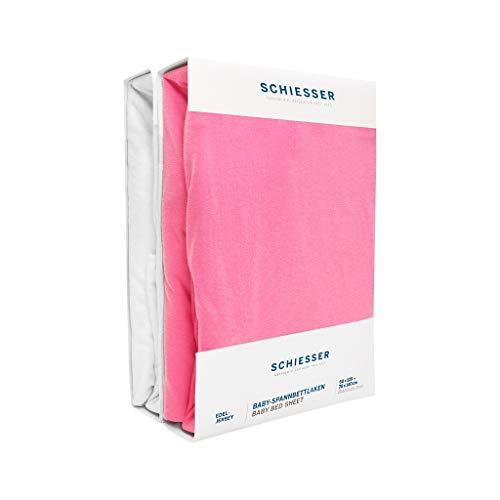 Schiesser 2er Set Baby Spannbettlaken Edel-Jersey, 100% Baumwolle, Farbe:rosa/weiß