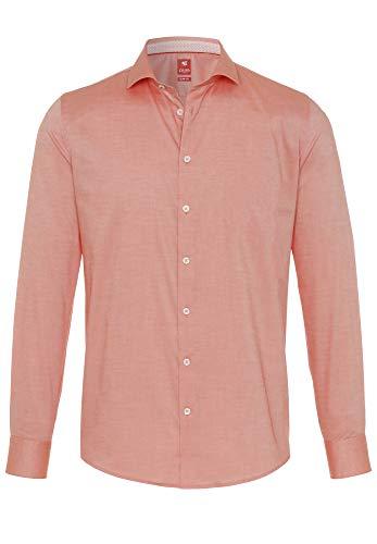 Pure Herren 4025-726 City Red Langarm Klassisches Hemd, Uni Lachsfarbe, L