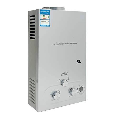 Cozyel 8 litros Calentador de agua a Gas GLP Butano Propano 8 L 16KW Para el la casa Viaje Caravana Barco Camping Coche