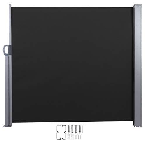 Zerone Senkrechtmarkise,Balkonmarkise Vertikalmarkise Einziehbare vertikale Markise Windschutz Sonnenschutz Markise 300 x 140 cm (schwarz)