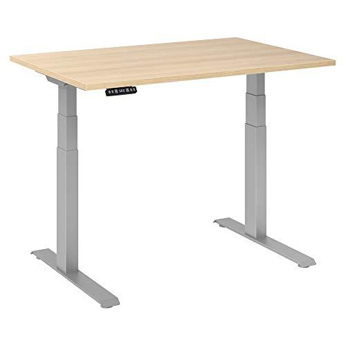 Elektrisch höhenverstellbarer Schreibtisch | Ergonomischer Sitz-Steh-Tisch mit Memory Funktion | 2-fach stufenlos höhenverstellbar Bürotisch | einfache Montage (120 x 80 cm, Eiche, Gestell Silber)