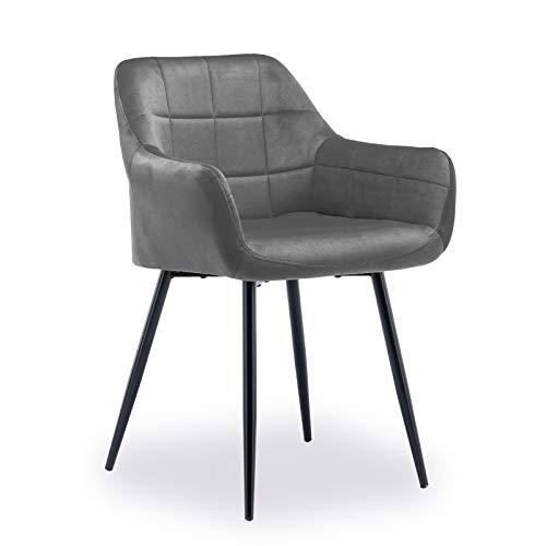 Zebery Sillas de comedor, sillones de terciopelo vintage para sala de estar, dormitorio, cocina, con patas de silla de metal