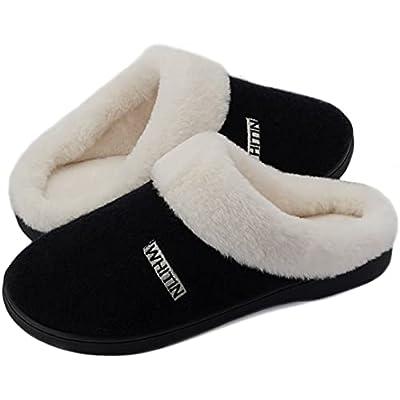 WHITIN Women's Knit Warm Fluffy Memory Foam Soft House Bedroom Slipper