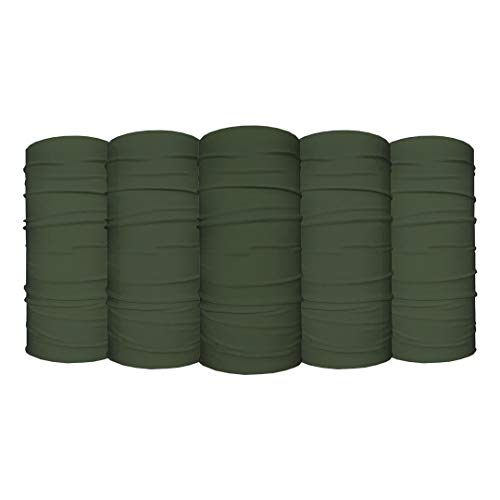 S A - UV Face Shield 5 Pack - Multipurpose Neck Gaiter, Balaclava, Elastic Face Mask for Men and Women (Solid OD Green)