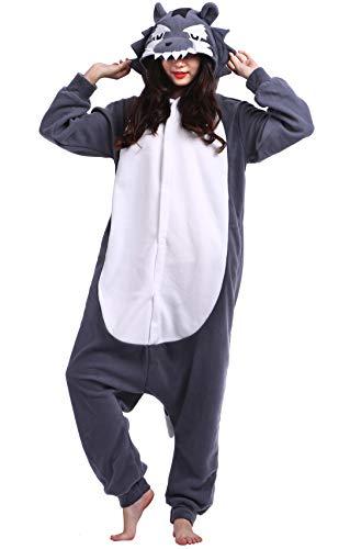 Pijama Animal Entero Unisex para Adultos con Capucha Cosplay Pyjamas Gris Lobo Ropa de Dormir Traje de Disfraz para Festival de Carnaval Halloween Navidad