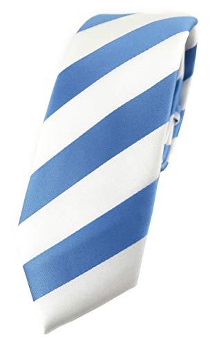 TigerTie - Corbata estrecha de diseño a rayas. azul blanco Talla única