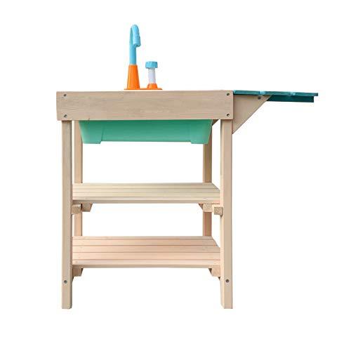 Wiltec Matschküche für Kinder aus Holz mit Spülbecken für Garten, Terrasse und Balkon - 3