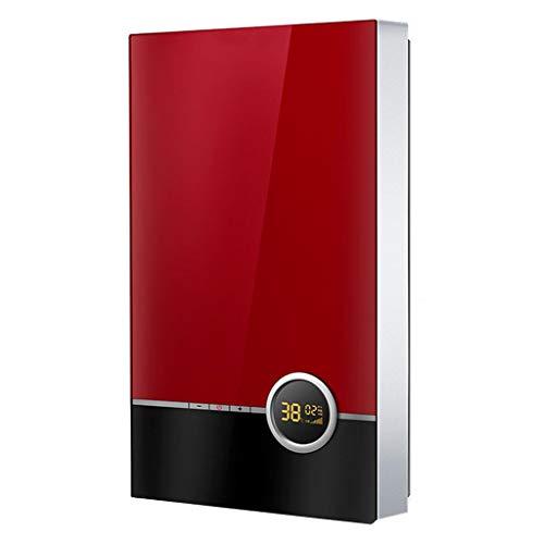 RESHUIQI 7KW Elektrischer Warmwasserbereiter, Thermostat, Kleine Badmaschine, Power-Off-Memory-Funktion, ABS-Material, Energiesparen, Stromsparen, Küche Und Toilette Können Installiert Werden (rot)