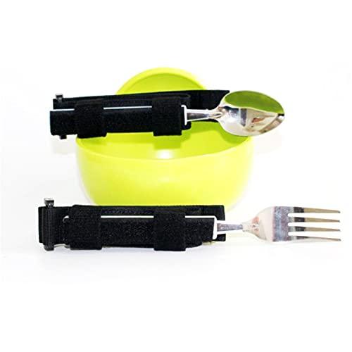 Juego de Cubiertos Vajilla Extra Estable Tenedor Cuchara y Cuenco con MuñEquera Acero Inoxidable Antisacudidas para Pacientes Mayores,