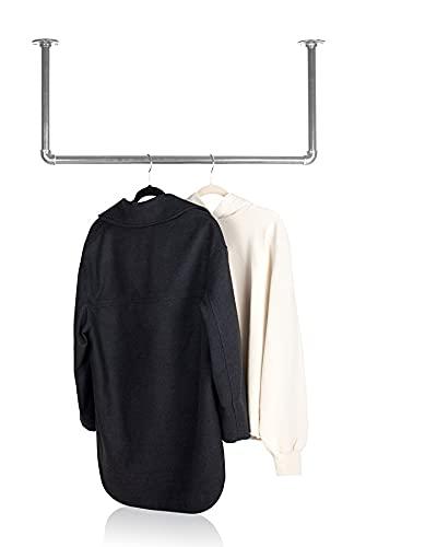 Kleiderstange Industrial Look Silber für Decke | Breite 100 cm x Höhe 50 cm | Garderobenstange | Ankleidezimmer | Schlafzimmer | Garderobe | begehbarer Kleiderschrank