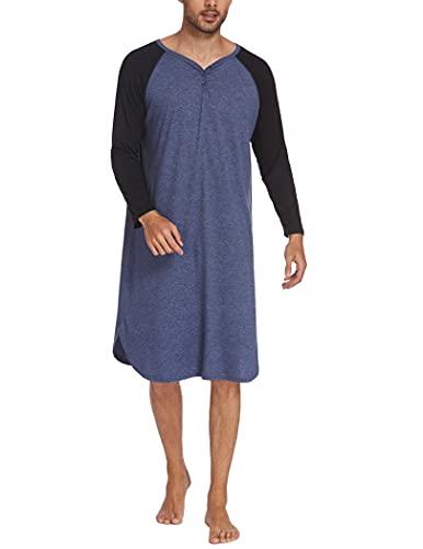 Ekouaer Herren Langarm Nachthemd Sleepshirt für Männer Schlafanzug Oberteil Einteiliger Lang Schlafkleid V-Ausschnitt Pyjama,Marine,XL