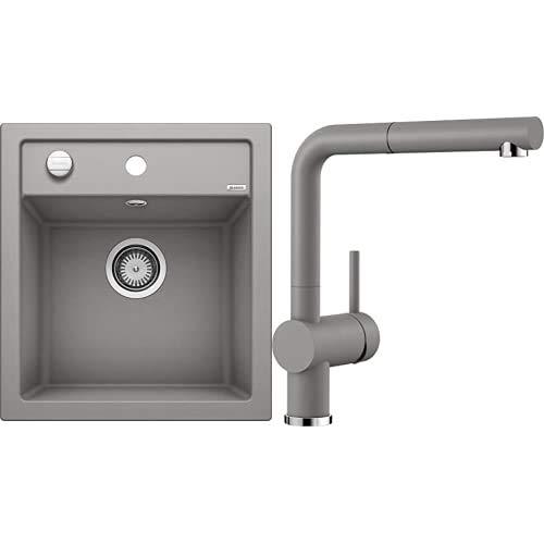 BLANCO Spül-Set in alumetallic – DALAGO 45 – Spülbecken für 45 cm Unterschränke – Granitspüle aus SILGRANIT + LINUS-S – Küchenarmatur in SILGRANIT-Look – mit herausziehbarem Auslauf