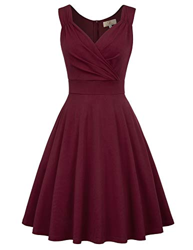 GRACE KARIN Vintage Woman Dress Anni '50 per Cocktail Party Rosso Scuro XL CL011107-1