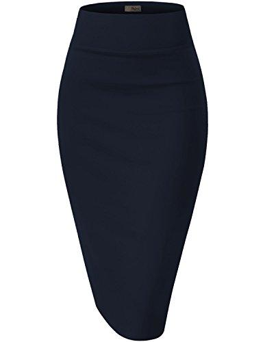 Womens Pencil Skirt for Office Wear KSK43584X 1139 Navy 1X