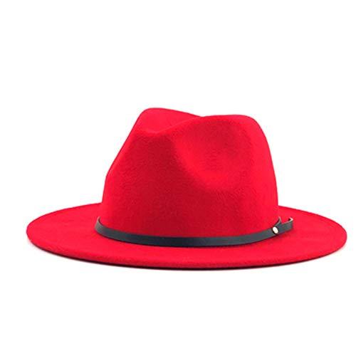 No-branded HOUJHUS Moda Sombrero de Copa Sombreros de Jazz Sombrero de Fedora Sombrero de Lana Fieltro Ancho de Banda de Cuero Lateral Caballero Elegante Invierno Otoño Sombrero Fedora