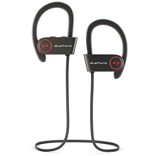 Bluephonic Wireless Sport Bluetooth Headphones, Hd Beats Sound Quality, Sweat Proof Stable Fit in Ear Workout Earbuds, Ergonomic Running Earphones, Noise Cancelling Microphone (Black)