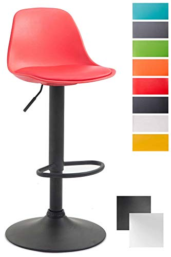 CLP Thekenhocker Kiel Kunststoff I Barhocker mit Polsterung und Kunstlederbezug I Barstuhl mit Metallgestell, Farbe:rot, Gestell Farbe:Schwarz