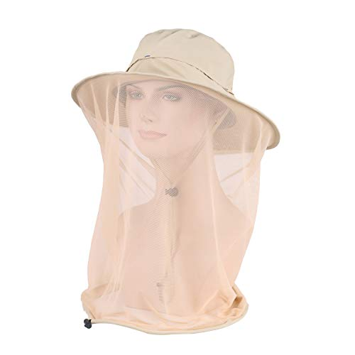 ASY Outdoor Anti-Mosquito Head Net Hat Face Protection Sun Hat Insect Netting,Bug Face Cover Cap for Men and Women (Beige)