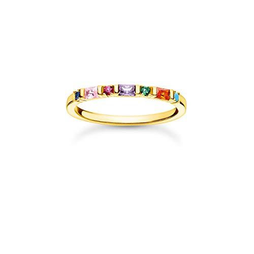 THOMAS SABO Ring mit mehrfarbigen Zirkonia Steinen in Rund- und Baguette-Schliff, 750 Vergoldung, 925 Sterlingsilber, Ringgröße 54, TR2348-488-7-54