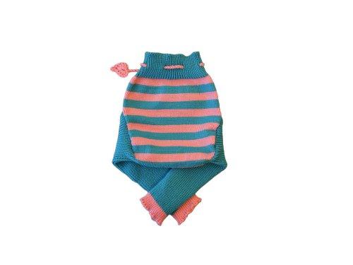 100% Merinowolle Baby Wollwindelhose Überhosen Hose gestrickt gestreift Schafswolle Aqua blue+Pink S