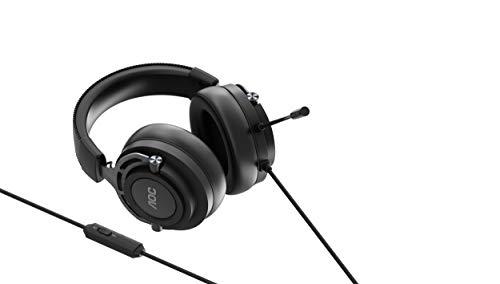 AOC GH200 - Auriculares Gaming para PC, PS4/PS5, XBOX, SWITCH, conectividad 3,5 mm Jackphone, micrófono, Y-splitter, Estéreo 2.0